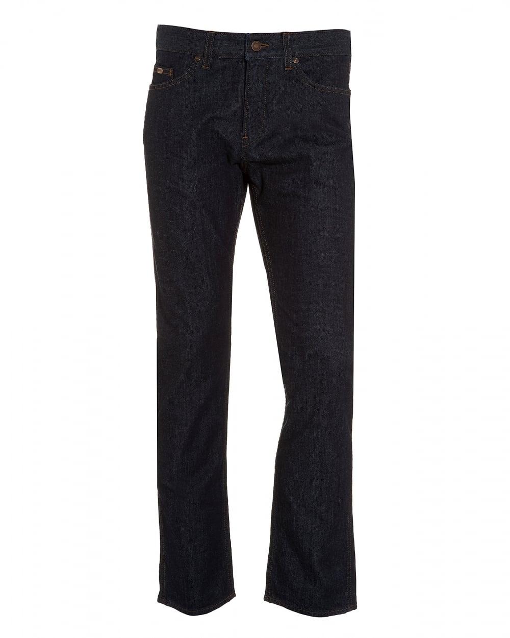 2284680ddde40 Hugo Boss Green Mens C-Delaware1 Jean, Slim Fit Dark Indigo Jeans