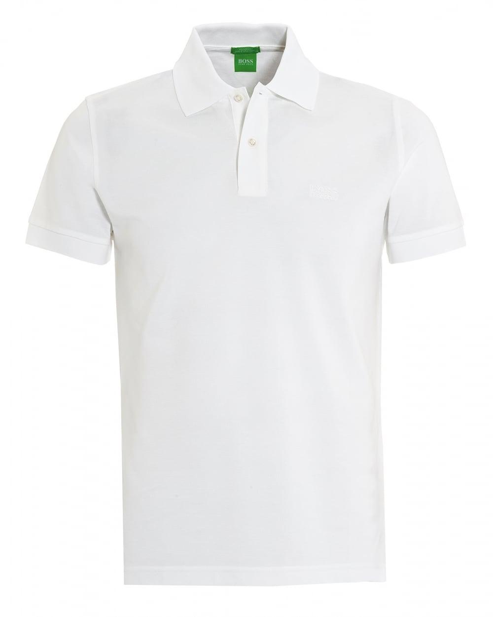 857884e3e Hugo Boss Green Mens C Firenze Logo Polo Regular Fit White Polo Shirt