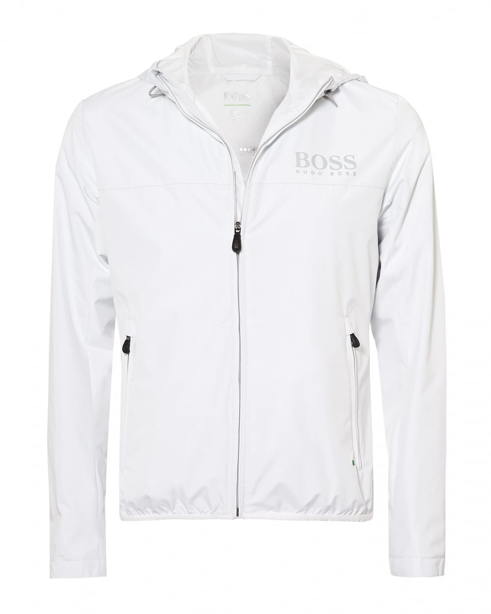 5439ead7 Hugo Boss Green Mens Jeltech Water Repellent Hooded White Jacket