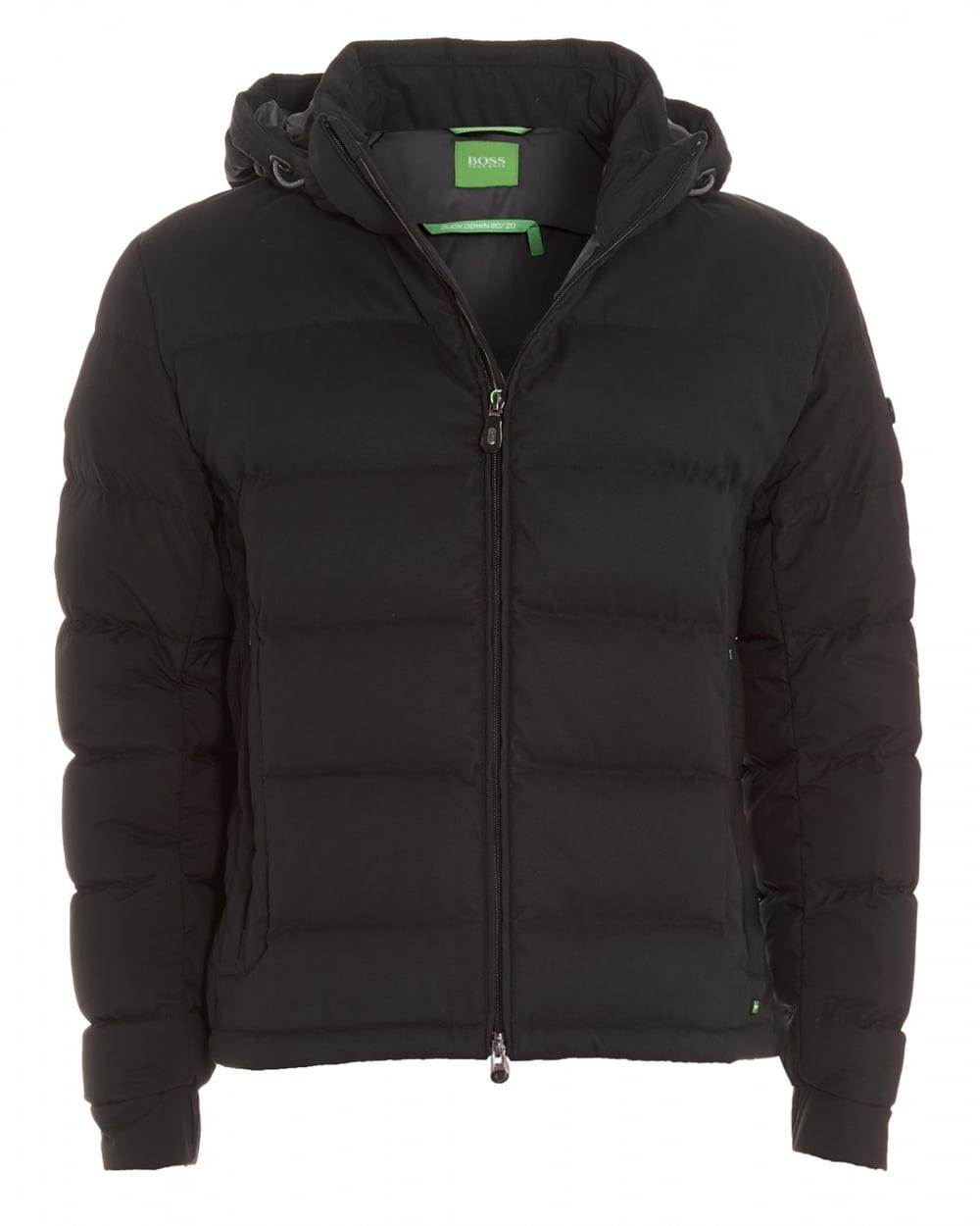 Hugo Boss Green Mens Jilario Coat Black Quilted Puffa Jacket