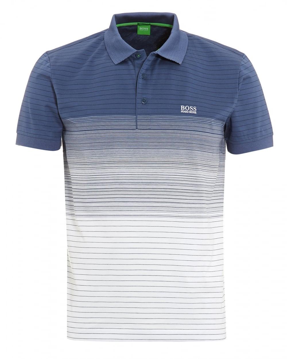b21d0e9626af Hugo Boss Green Mens Paddy 3 Blue White Faded Stripe Polo Shirt