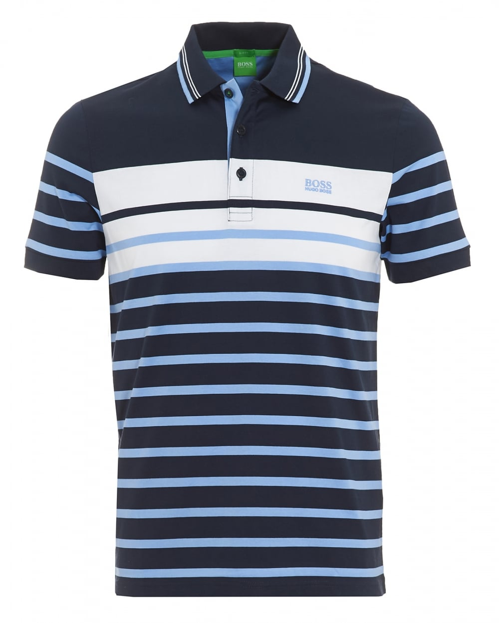 Hugo Boss Green Mens Paule 3 Navy Blue Stripe Slim Fit Polo Shirt 874bdaee8