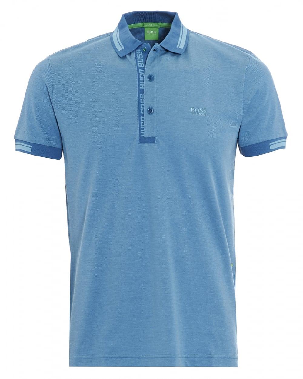 7d9cb3171 Hugo Boss Green Mens Paule 4 Polo Shirt, Blue Logo Tipped Polo