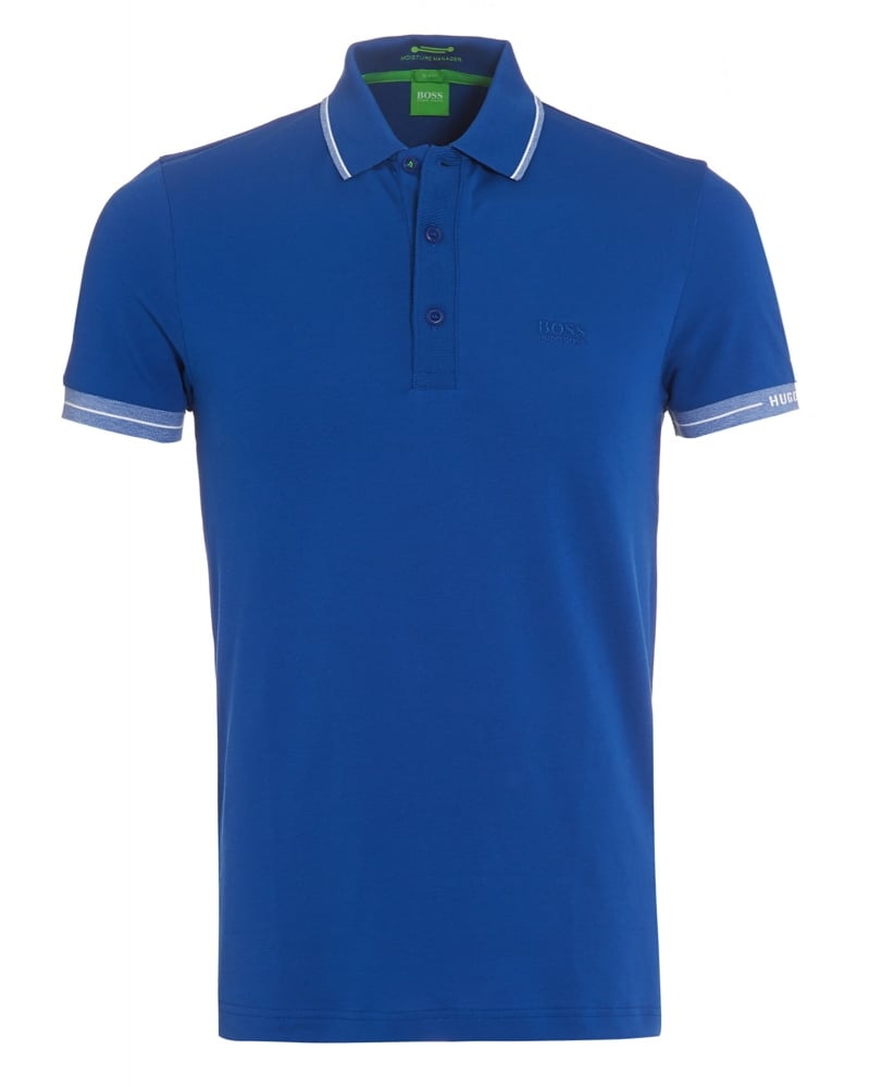 hugo boss green mens paule polo shirt royal blue tipped polo. Black Bedroom Furniture Sets. Home Design Ideas