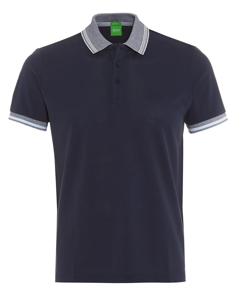 c2a7f98ba Hugo Boss Green Mens Polo Shirt C-Firenze 3 Navy Blue Tipped Polo