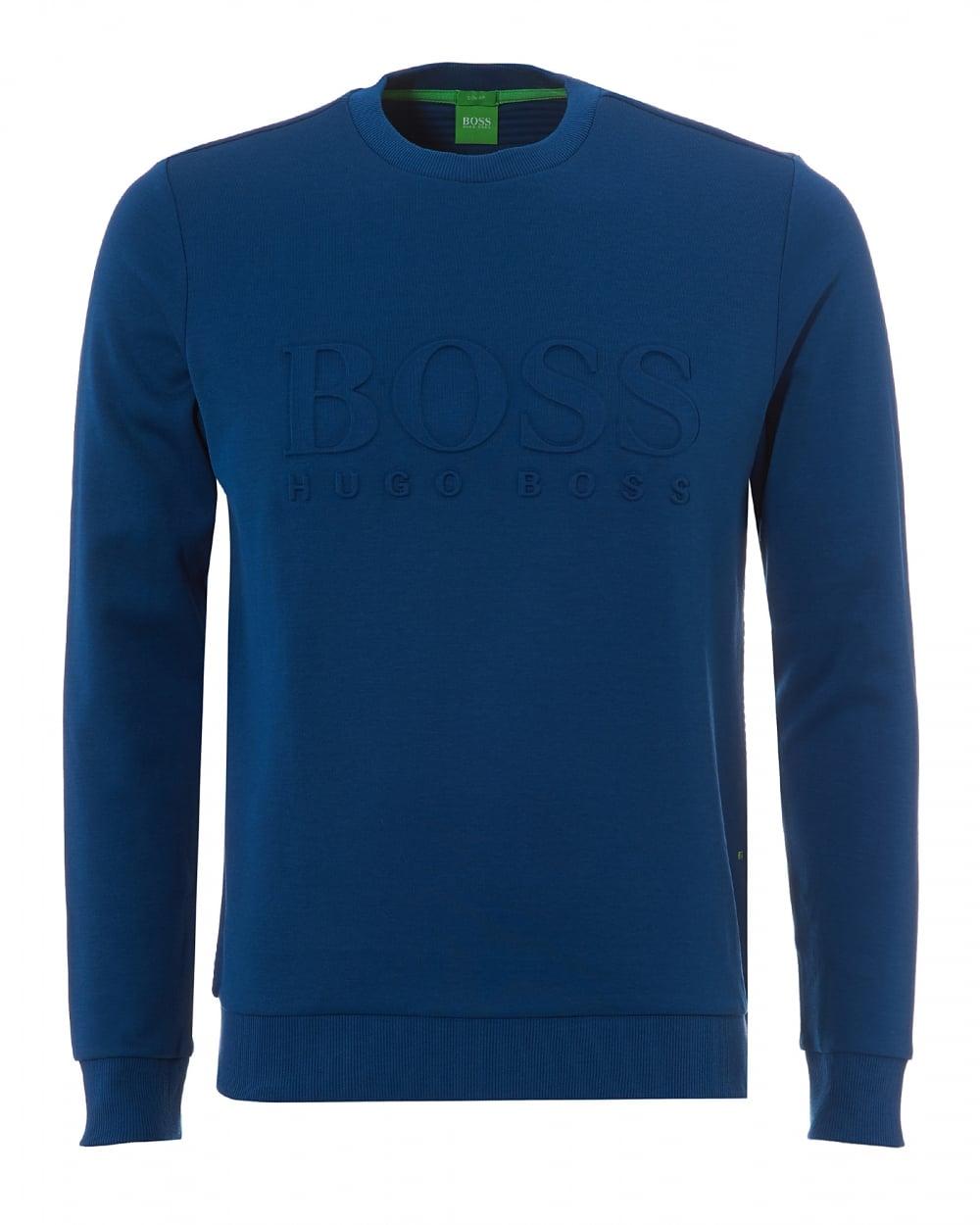 a813841e3 Hugo Boss Green Mens Salbo Crew Neck Poseidon Teal Blue Sweatshirt