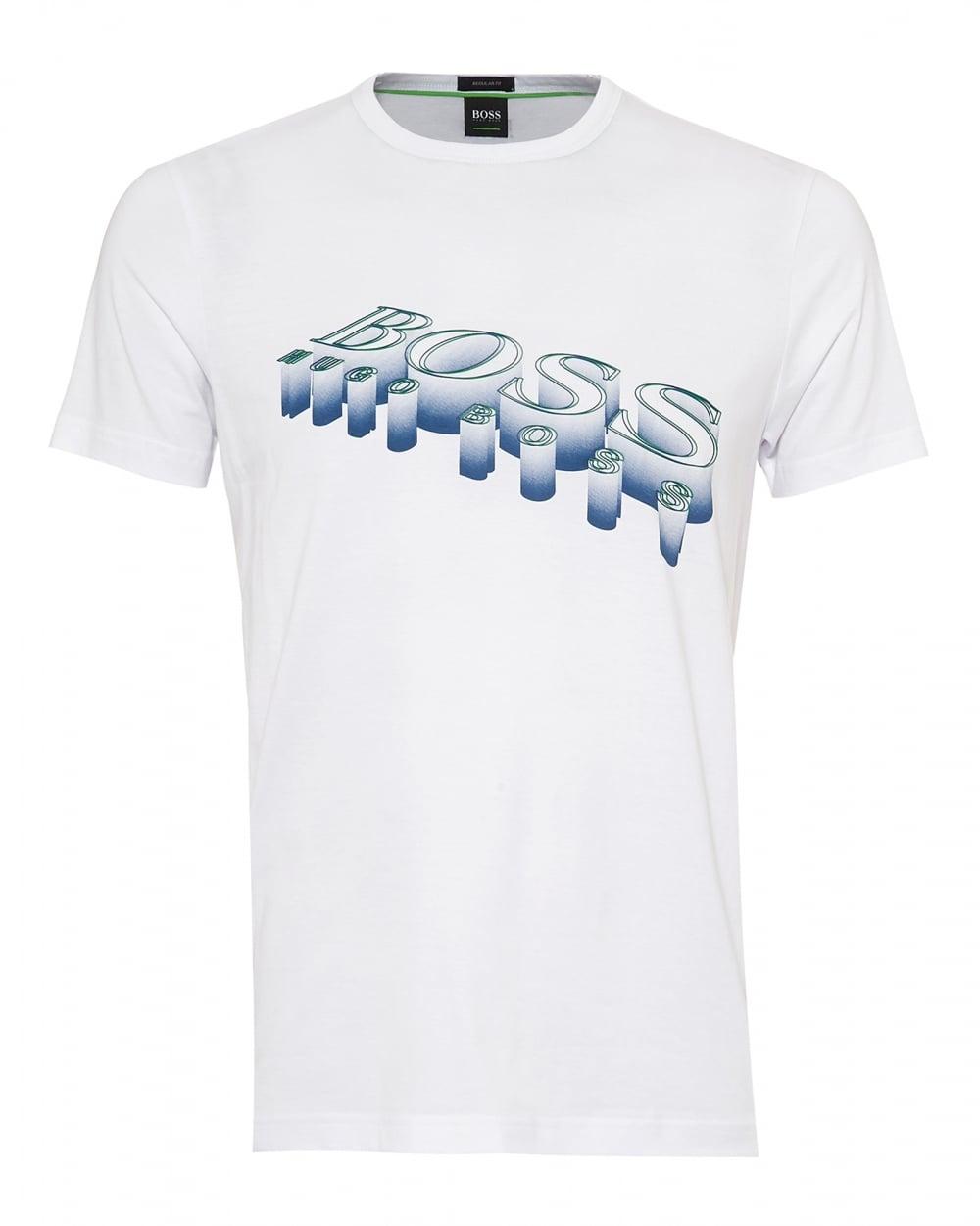 e9d58a015f Hugo Boss Green Mens Tee 2 T-Shirt, 3D Logo Graphic White Tee