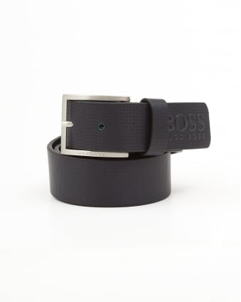 Mens Tienzo Textured Leather Navy Blue Belt