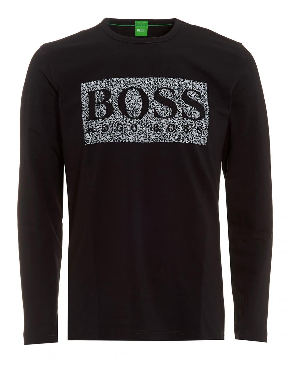 0f4ffa5c6 Hugo Boss Green Mens Togn 1 T-Shirt, Black Long Sleeve Logo Tee