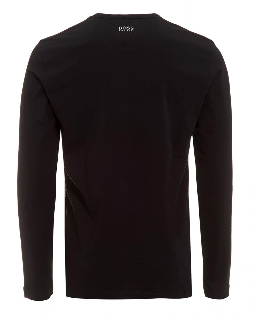 7dfdb5d2 Hugo Boss Green Mens Togn 1 T-Shirt, Black Long Sleeve Logo Tee