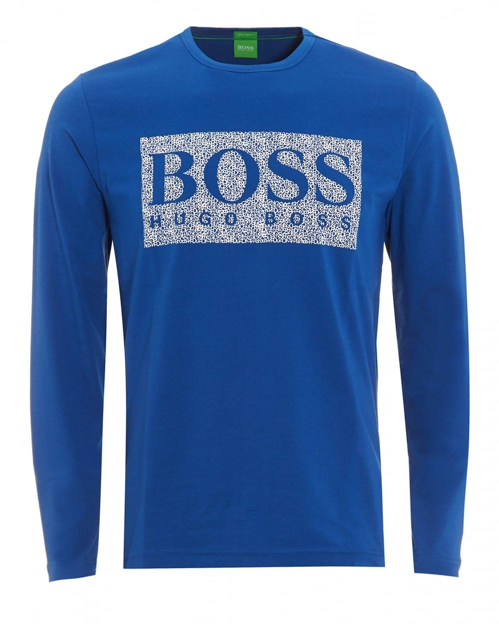 4513aac6 Hugo Boss Green Mens Togn 1 T-Shirt, Monaco Blue Long Sleeve Logo Tee