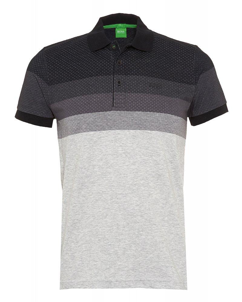 hugo boss green polo shirt 39 paule 3 39 black chest pattern polo. Black Bedroom Furniture Sets. Home Design Ideas