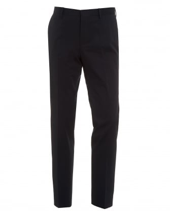 Mens Barao Trousers, Navy Blue Slim Fit Faux Leather Piped Chinos