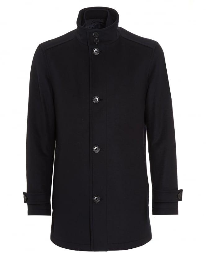 Hugo Boss Black Men Camlow Wool Blend Navy Car Coat