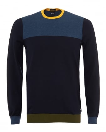 Mens Decio Knit, Multi Paneled Navy Blue Yellow Jumper