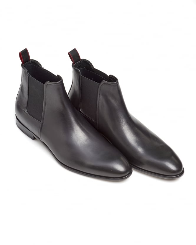 BOSS Business Mens Dressapp_Cheb_bu Rich Leather Black Chelsea Boots