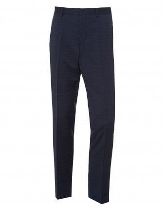 Mens Gido Slim Fit Navy Blue Trousers