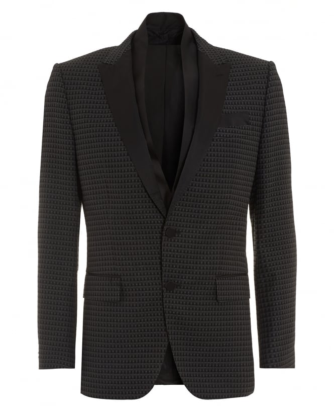 BOSS Mens Havit Jacket, Patterened Slim Fit Black Dinner Jacket