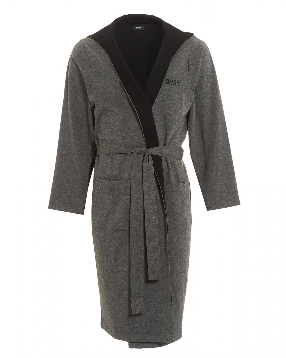 Hugo Boss Black Mens Hooded Robe Charcoal Grey Dressing Gown