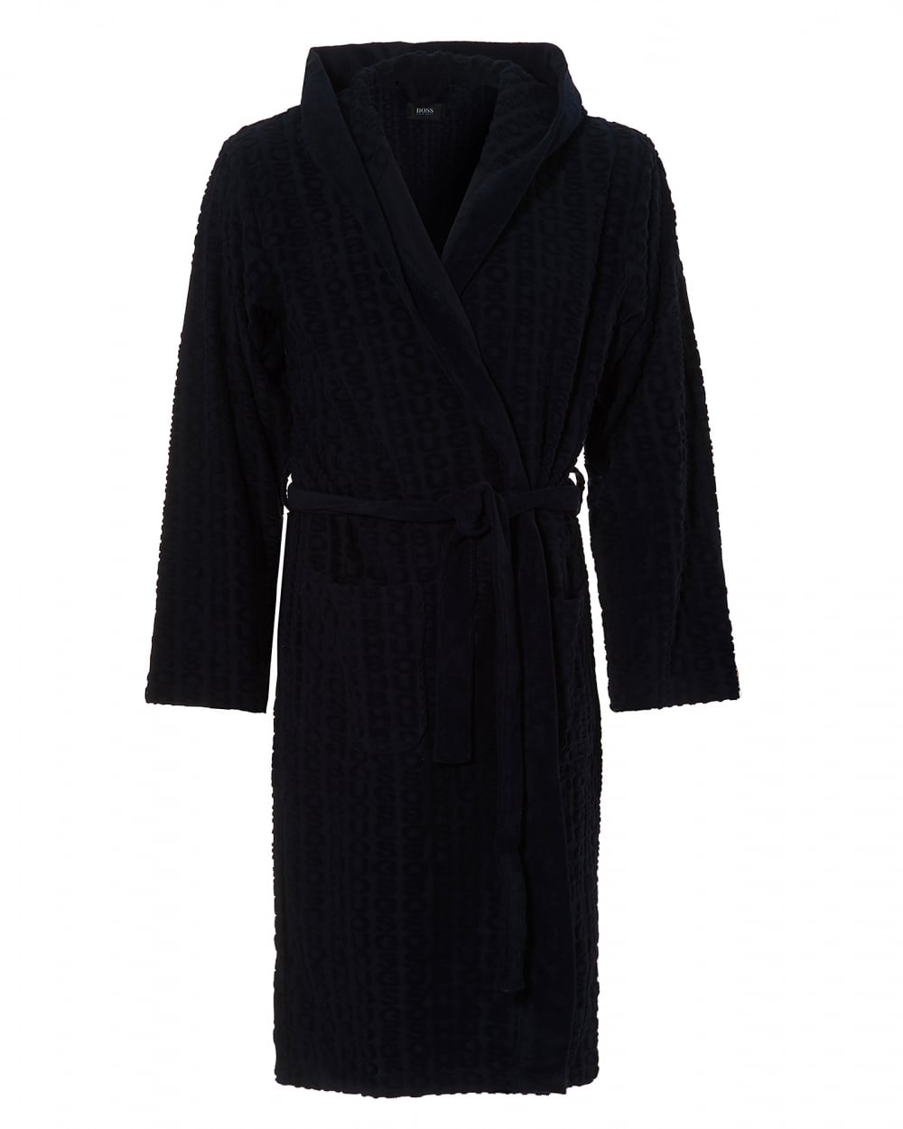 Hugo Boss Black Mens Hooded Robe, Cotton Blend Navy Blue Dressing Gown