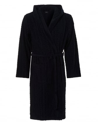 Mens Hooded Robe, Cotton Blend Navy Blue Dressing Gown