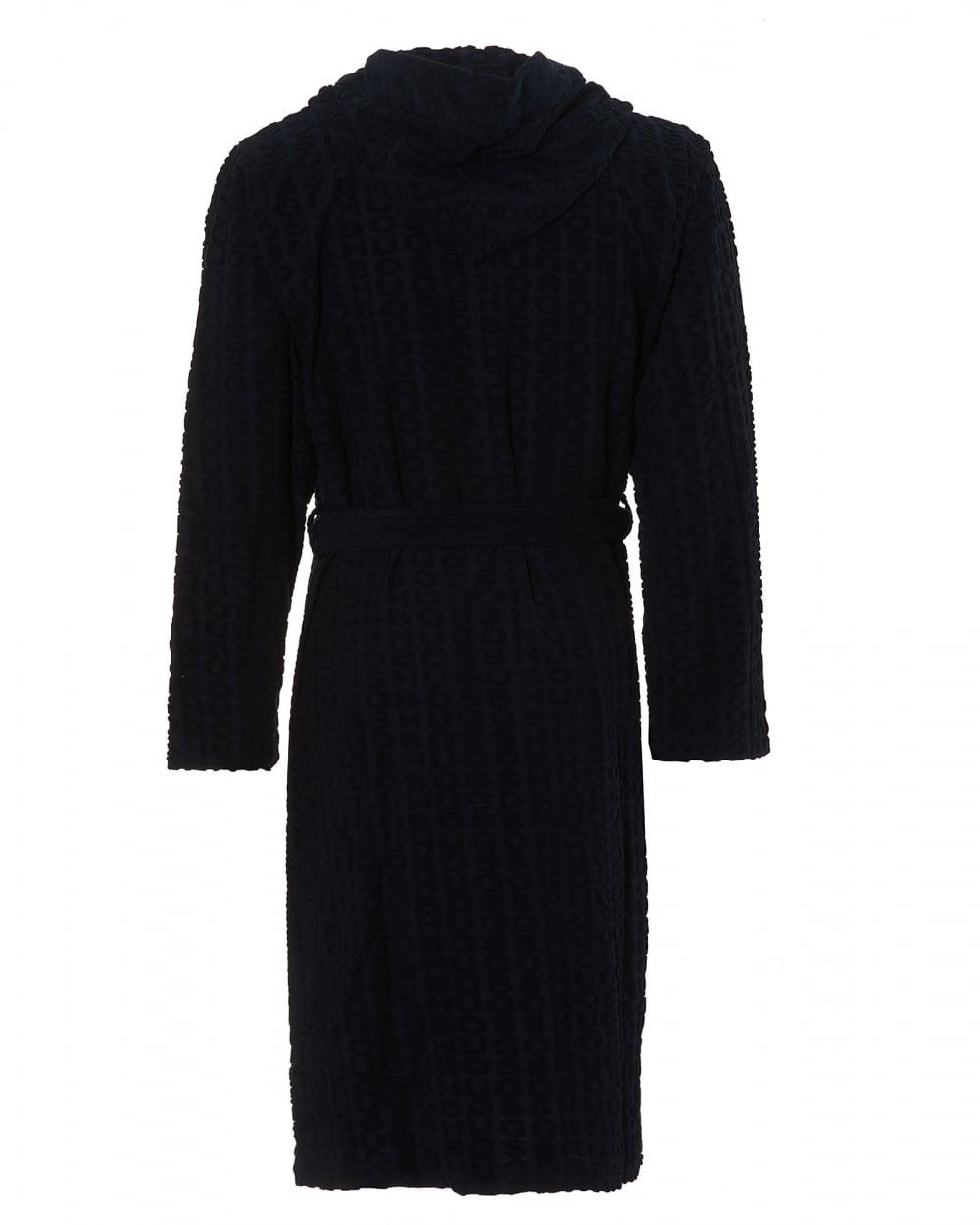Hugo Boss Black Mens Hooded Robe, Cotton Blend Navy Blue Dressing Gown