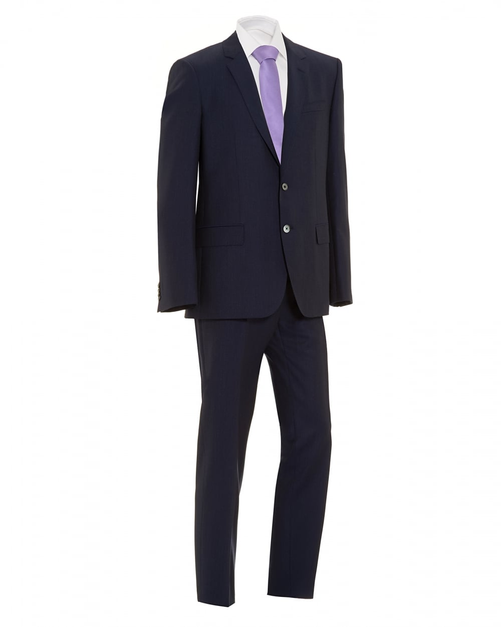 Hugo Boss Classic Mens Hudson Gander Suit Navy Blue Pinstripe