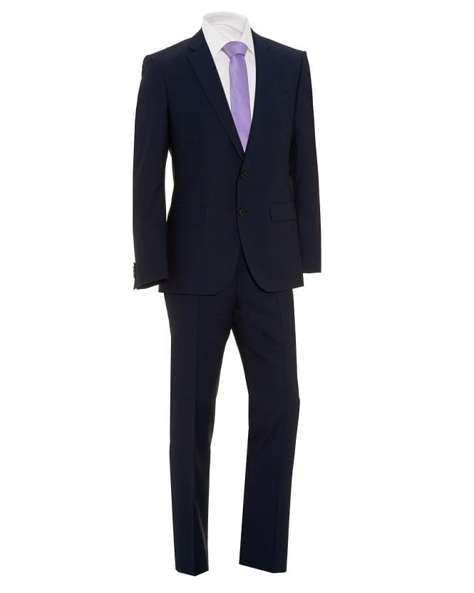 BOSS Mens Huge/Genius Navy Blue Sharkskin Suit