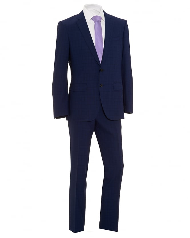 BOSS Mens Huge5/Genius3 Navy Blue Textured Micro Grid Check Slim Fit Suit