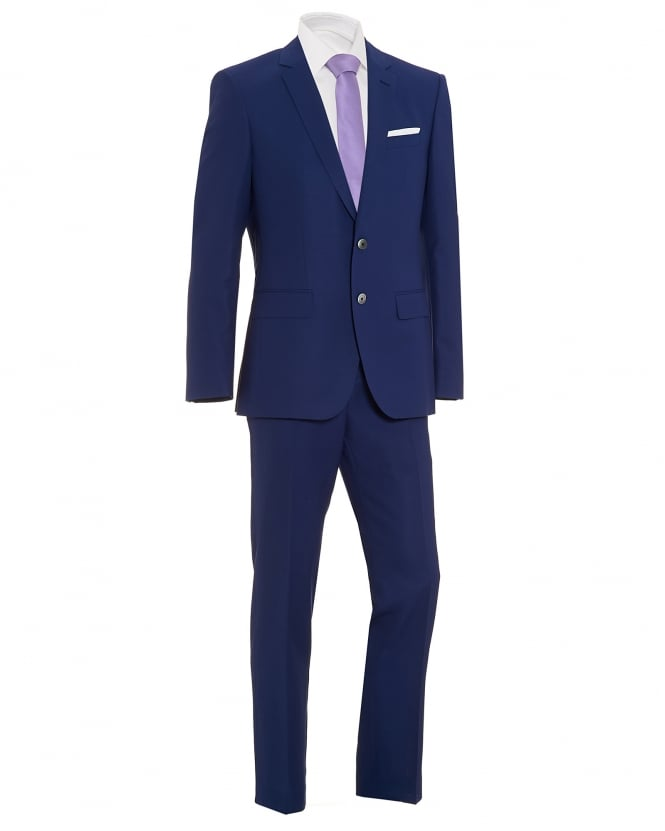 BOSS Mens Hutson2/Gander1 Navy Blue Slim Fit Suit