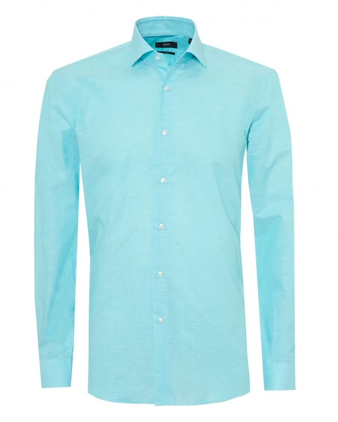 BOSS Mens Ismo Shirt, Cotton Linen Aqua Blue Shirt