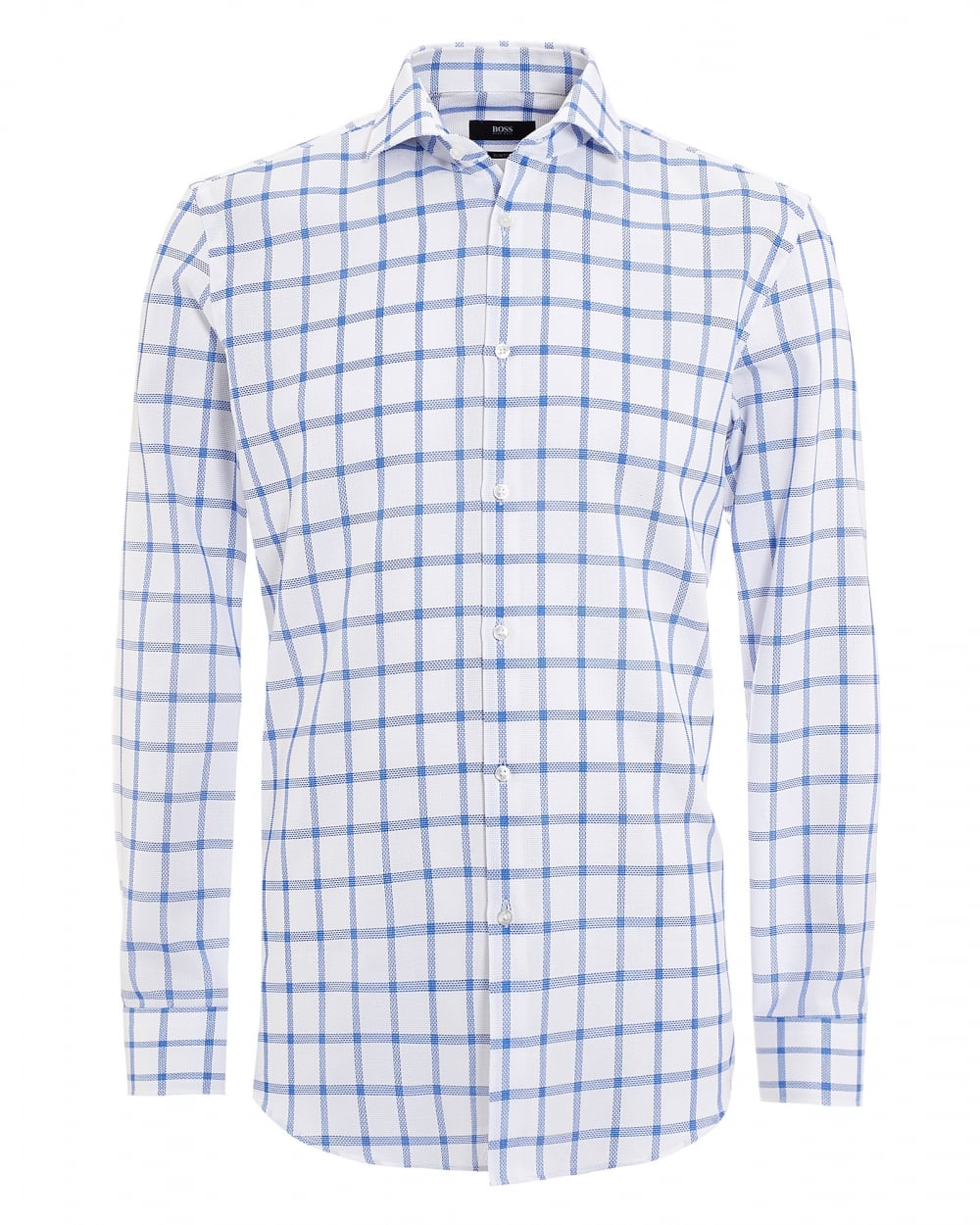 b3228a01d Hugo Boss Classic Mens Jason Shirt, Window Pane White Royal Shirt