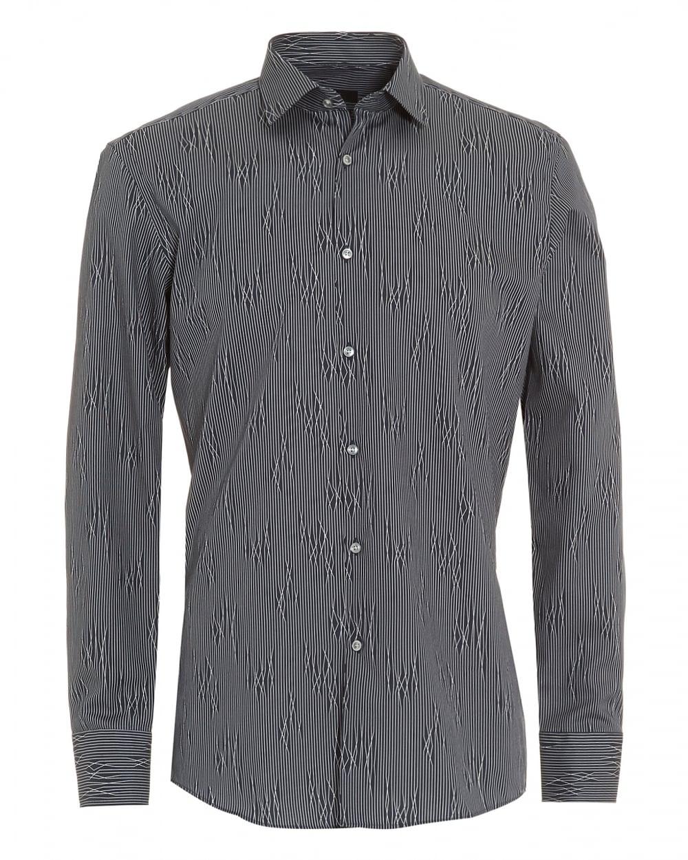 b3e3d72e55eb Hugo Boss Classic Mens Jenno Dark Blue Patterned Slim Fit Shirt