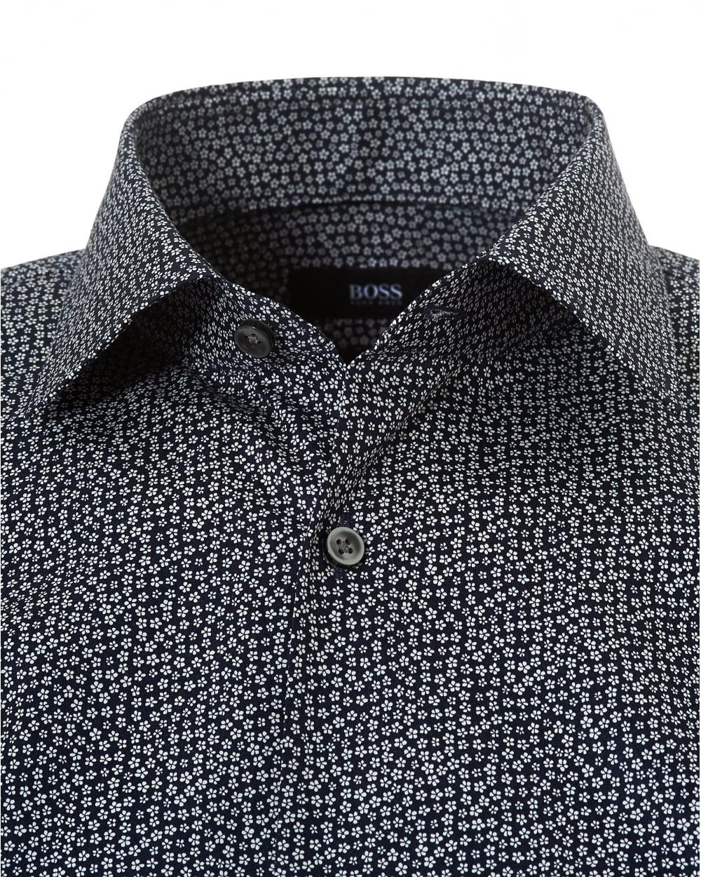 6b5df0cf6 Hugo Boss Black Mens Jenno Micro Floral Pattern Slim Fit Navy Shirt