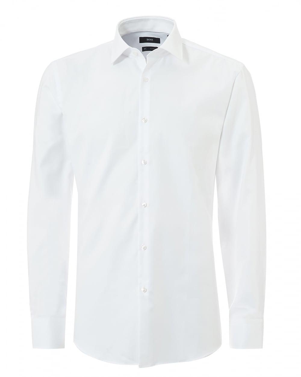 Hugo boss classic mens jenno small texture slim fit white for Mens slim white shirt