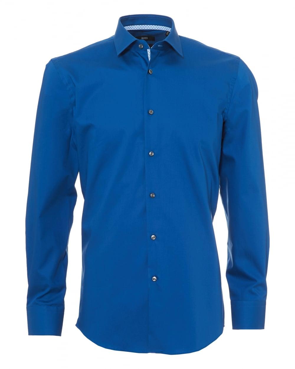 04a9673eb Hugo Boss Mens Jesse Shirt, Geo Print Trim Slim Fit Royal Blue Shirt