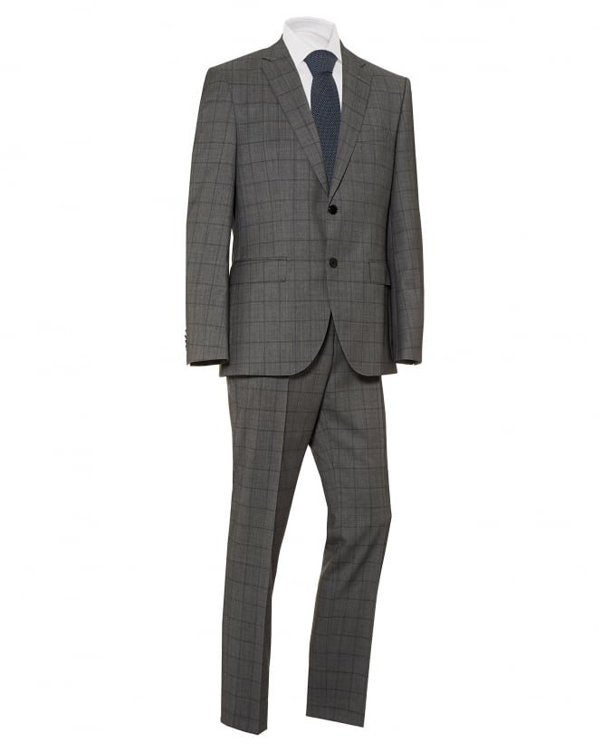 BOSS Mens Johnston Lenon Window Pane Grey Regular Fit Suit