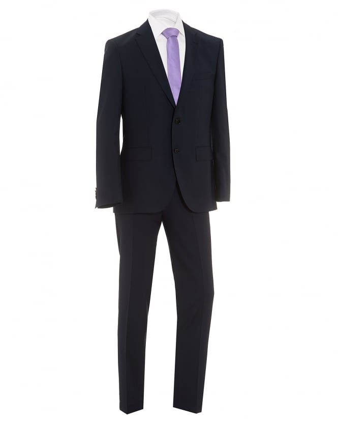 BOSS Mens Johnstons Lenon Textured Dark Navy Regular Fit Suit
