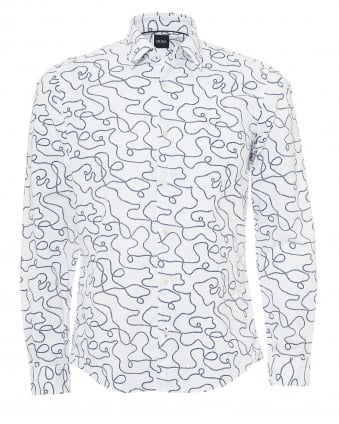 Mens Lance Shirt, All Over Rope Print White Shirt