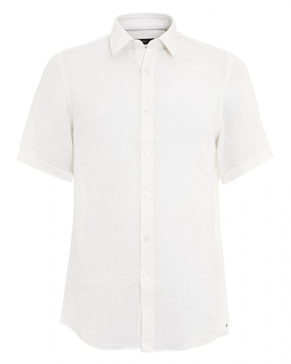 f0ffe88620 Hugo Boss Black Mens Luka Linen White Short Sleeved Shirt