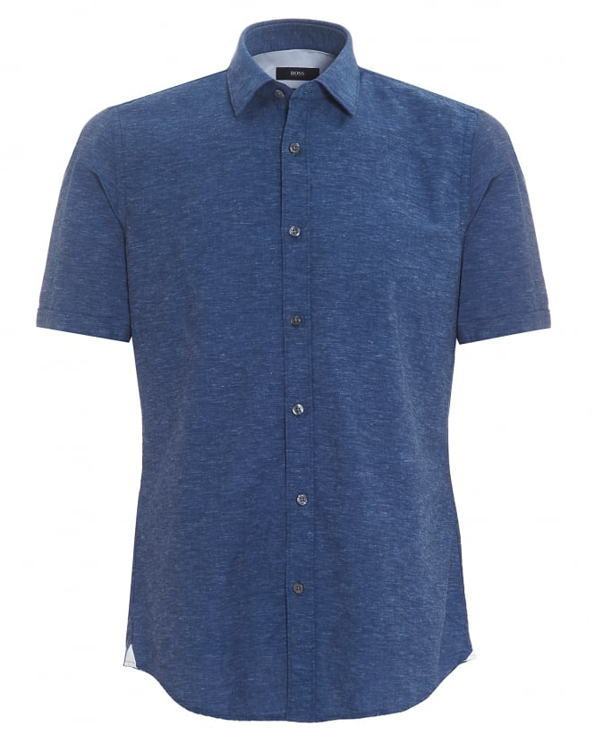 BOSS Mens Luka Short Sleeve Cotton Linen Navy Blue Shirt