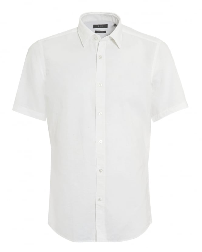 BOSS Mens Luka Short Sleeve Cotton Linen White Shirt