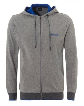Mens Micro Stripe Hooded Jacket, Zip Up Grey Hoodie