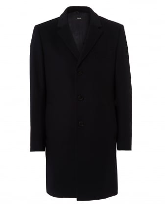 Mens Nye Cashmere Wool Mix Navy Blue Crombie Coat