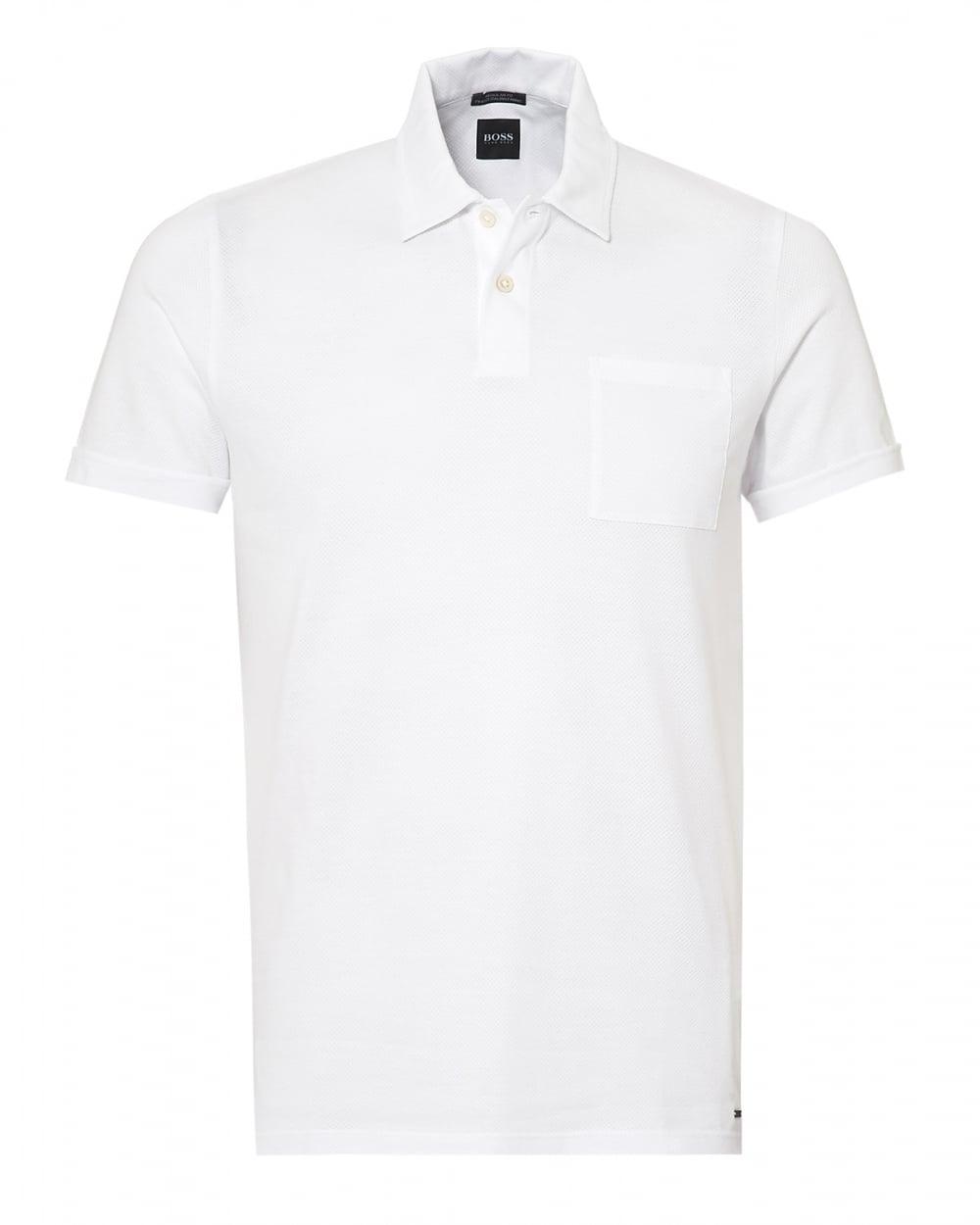 Hugo boss black mens paino polo shirt chest pocket white polo for Men s polo shirts with chest pocket