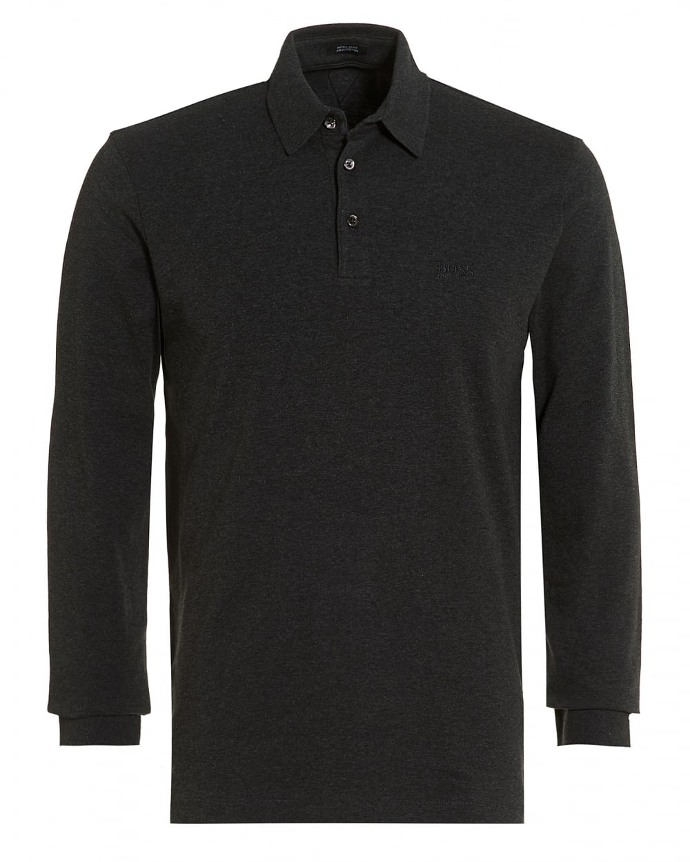 Hugo boss black mens phillian long sleeve grey regular fit for Long sleeve fitted polo shirts