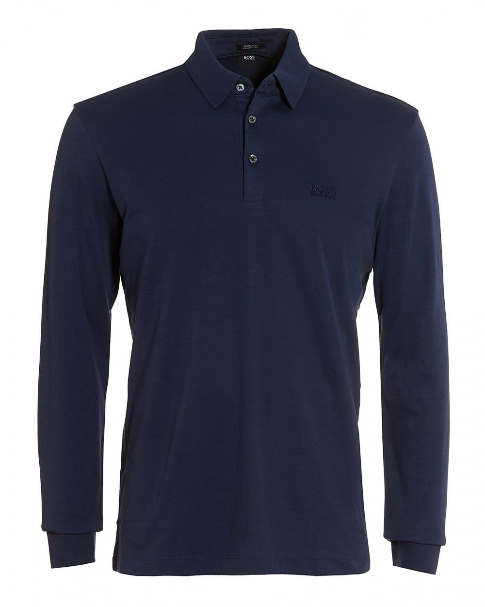 Hugo Boss Black Mens Phillian Long Sleeve Blue Regular Fit Polo Shirt