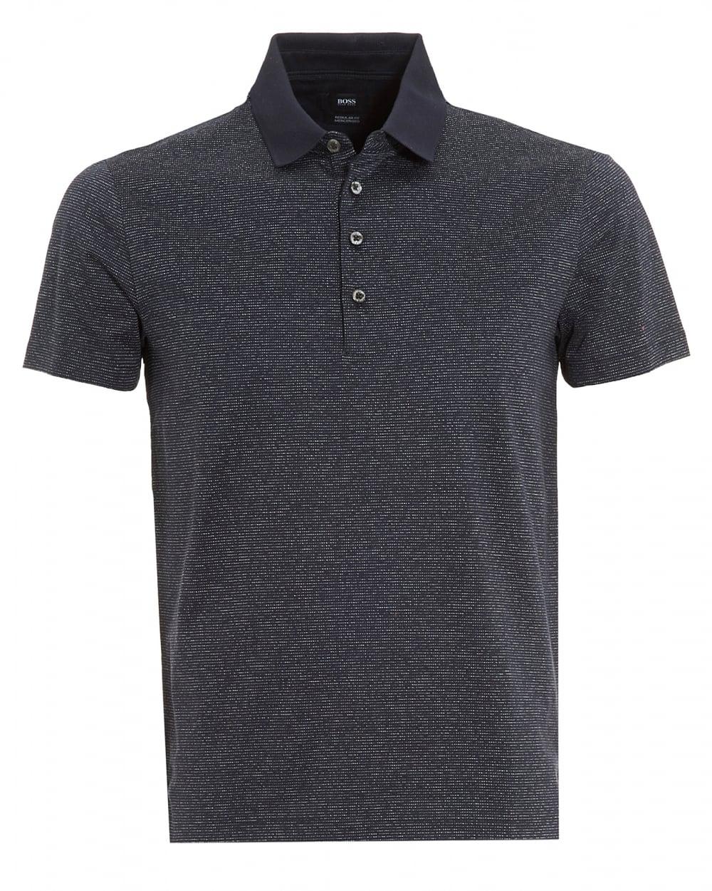 192f5780f Hugo Boss Black Mens Pitton 06 Polo, Fleck Regular Fit Navy Polo Shirt