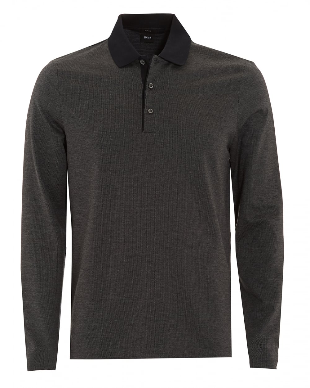 aefffc14010 Hugo Boss Black Mens Paschal 01 Slim Fit Black Long Sleeved Polo Shirt