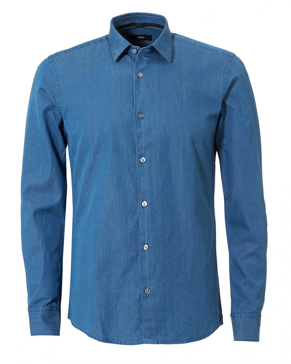 7c5b2f6a99 Hugo Boss Black Mens Reid_F Denim Look Slim Fit Indigo Shirt